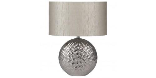 Chrome Hammered Ceramic Lamp Complete