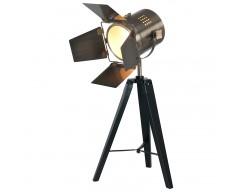 Black Wood Film Light & Antique Brass Head (Table Lamp)