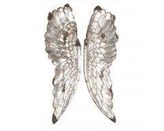 Silver Polyresin Angel Wings Wall Art
