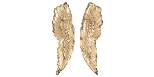 Antique Gold Polyresin Angel Wings Wall Art