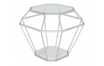 Inca Glass Lamp Table - Stainless Steel