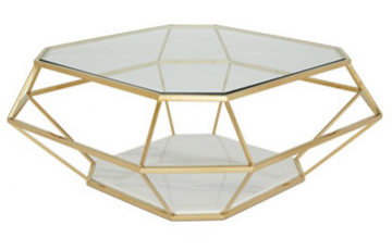 Inca Glass Coffee Table - Gold