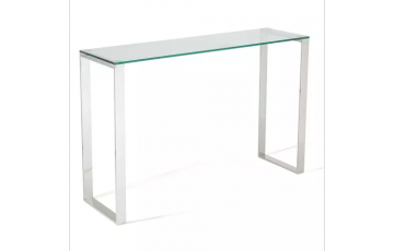 Kai Glass Console Table in Steel