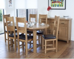 Hastings Oval Extending Oak Dining Set complete with 6 chairs