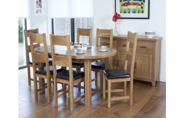 Hastings Oak Extending Oval Dining Table