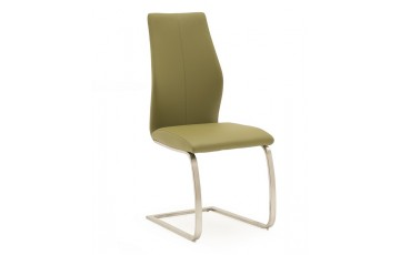 Issy Faux Leather Dining Chair in Olive